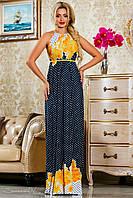 Стильное женское платье (микромасло, принт, длина макси в пол, открытые плечи, без рукавов) РАЗНЫЕ ЦВЕТА!