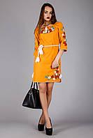 Вышитое платье в этническом стиле оранжевого цвета