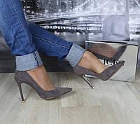 Женские туфли лодочка серые