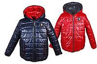 Демисезонная двухсторонняя куртка от 2 до 10 лет 32, синяя с красным