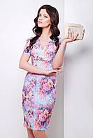 Голубое летнее платье с розовыми цветами по колено сукня Энжи к/р