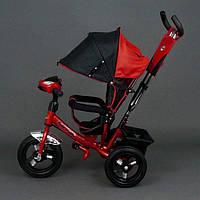 Велосипед трехколесный Best Trike 6588 В красный, надувные колеса, фара, ключ зажигания