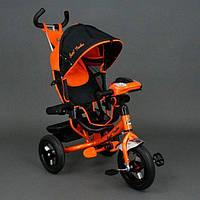 Велосипед трехколесный Best Trike 6588 В оранжевый, надувные колеса, фара, ключ зажигания