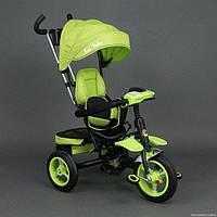 Велосипед трехколёсный 6699 Best Trike салатовый, черная рама, надувные колёса, поворотное сидение, фара, ключ зажигания