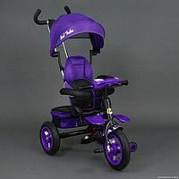 Велосипед трехколёсный 6699 Best Trike фиолетовый черная рама, надувные колёса, поворотное сидение, фара, ключ зажигания