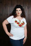 Красивая женская футболка с вышивкой с 44 до 56 размера