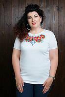 Нарядная женская футболка с вышивкой с 44 до 56 размера