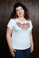 Модная вышитая футболка белого цвета с 44 до 56 размера