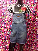 Джинсовое платье-сарафан с цветком