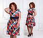 """Элегантное летнее женское платье в больших размерах 1264 """"Креп Клетка Арабески"""" в расцветках, фото 3"""