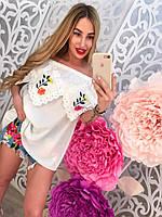 Шифоновая блузка с вышивкой