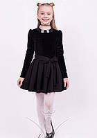 Стильное бархатное платье с длинным рукавом