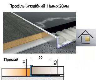 Профиль алюминиевый  L - образный 11мм х 20мм для плитки, ламината, серебро, золото, бронза,шампань