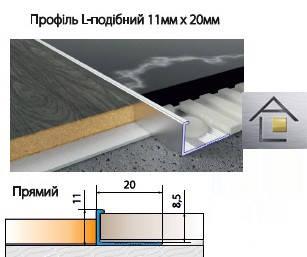 Профиль алюминиевый  L - образный 11мм х 20мм для плитки, ламината, серебро, золото, бронза,шампань, фото 2