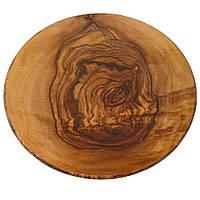 Блюдо меламиновое для подачи 55 см. круглое, под дерево оливковое American Metalcraft