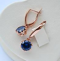 Красивые серьги позолота 18к  фирма Xuping с подвесками круглые синие цирконы.