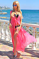 """Летняя шифоновая накидка в пол """"Пляж"""" без рукавов (3 цвета)"""