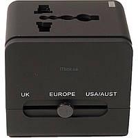Зарядное устройство PowerPlant Международный адаптер 220В + 2*USB max2.1A (DV00DV5067)