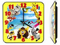 Настенные часы в детскую комнату Зоопарк