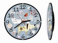 Детские настенные часы оригинальные Котик и собачка