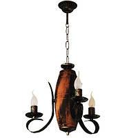 Люстра из дерева Бочка Старая 3 лампы Старая Бронза, Дерево Состаренное Светлое