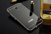 Металлический бампер Mirror с зеркальным вставкой для Meizu M5 (черный)