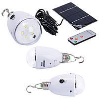 Лампа-фонарь GDlite 5005, 5 super brighteLED, E27, аккумулятор 800 mAh, пульт Д/У, солнечная панель