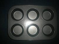 Металлическая форма Маффин классический планшет 6 шт, фото 1