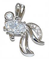 "Кулон ""Рыбка"" фирмы Xuping. Цвет: серебряный. Камни:белый циркон. Высота кулона: 2 см. Ширина: 20 мм"