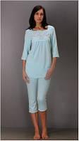 Пижама женская летняя, футболка и бриджи Fabio (женская одежда для сна, дома и отдыха, домашняя одежда)