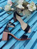 Босоножки элегантные на устойчивом (7 см) каблуке, черный, нат.кожа
