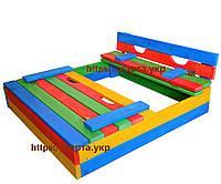 Песочница детская для улицы Цветная 100х100 см, фото 1