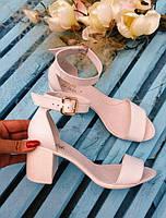 Босоножки элегантные на устойчивом (7 см) каблуке, белый, нат.кожа