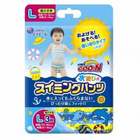 Трусики-подгузники для плавания Goo N для мальчиков 9-14 кг, ростом 70-90 см (размер L, 3 шт) Goo.N (853034)