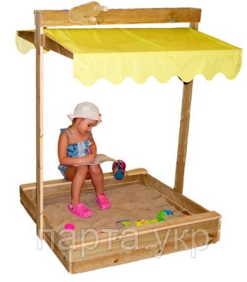 Песочница для ребенка с козырьком-крышей
