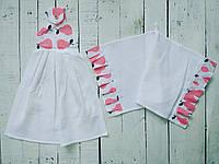 """Набор кухонных полотенец """" Груши """" белый с розовым"""