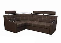 Угловой диван Garnitur.plus Элегант 3 коричневый 165 см