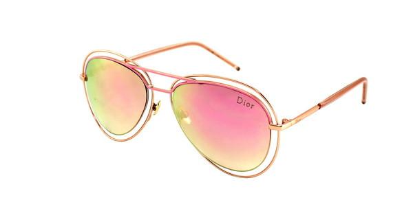 Стильные солнцезащитные очки Aviator Dior розовые хамелеоны