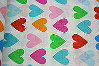 """Польская хлопковая ткань """"сердца разноцветные на белом"""" зеленые, голубые, оранжевые"""