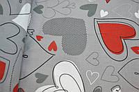 """Польская хлопковая ткань """"сердца серо-красные на сером"""""""