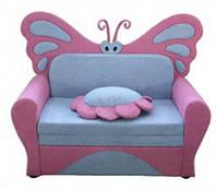 Диван детский Веселая Бабочка с декоративной подушкой (ламели Бук)