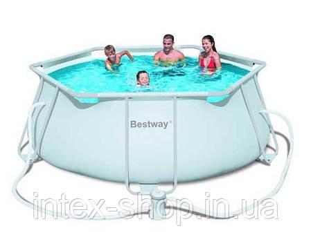 Каркасный шестиугольный бассейн Bestway 56245, размер 356 см х 102 см, фото 2
