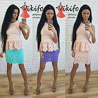 Костюм женский с перфорацией блузка с баской и юбка мини разные цвета Kf487