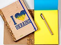 """ЭкоБлокнот ДЕРЕВЯННЫЙ с желто-синими листами """"Патріот"""" + ручка"""