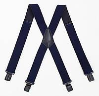 Широкие синие подтяжки Paolo Udini с усиленными клипсами, фото 1
