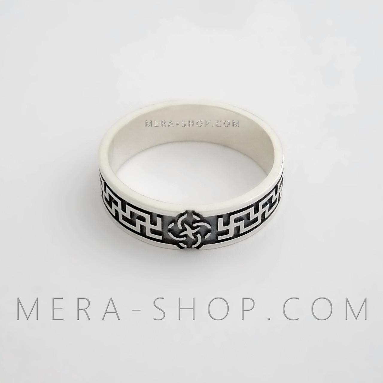 Кольцо оберег Свадебник со свастичным узором, серебро 925 пробы