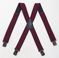 Бордовые мужские подтяжки Paolo Udini широкие, фото 1