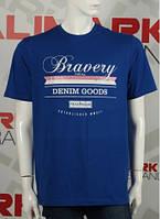 "Мужская футболка с надписями "" Bravery"" батал cиний"