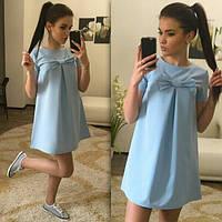 Женское летнее свободное платье с бантом  42, лимонный