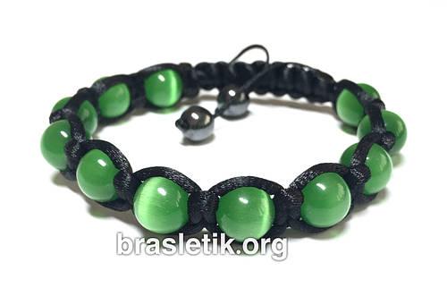 Браслет шамбала из Кошачьего глаза зеленый